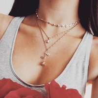 Fashion Trendy Gold Color Rose Crystal Love Heart Choker Necklace Wedding Multilayer For Women Jewelry Gifts Chokers