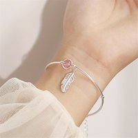 Bracelets 925 Sterling Silver Crystal Round Bead Feather Charm Bracelet & Bangles Adjustable Braclets for Women Wedding Jewelry Sl261