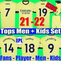 팬 플레이어 버전 424 Arsen 축구 유니폼 21 22 Gunners Odegaard Thomas Pepe Saka Tierney Henry Willian Smith Rowe 2021 2022 축구 셔츠 아이 세트 유니폼