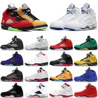 İndirim Raging Bull Jumpman 5 5 s Erkekler Basketbol Ayakkabıları Yangın Kırmızı Stealth 2.0 Antrasit Erkek Eğitmenler Spor Sneakers Boyutu 7-13