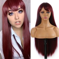 99j Red Burgundy Color Synthetic Hair Wigs Long Straight Wit...