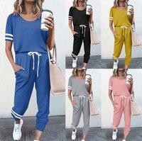 Tracksuits d'été Style de mode européen et américain Dames Casual Sports Sports Contraste Contraste Couleur Pantalon à manches courtes Deux pièces Set