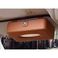 Car Organizer 3 Colors Sun Visor Leather Tissue Box Clip High Quality Automotive Paper Napkin Holder Removable Cover