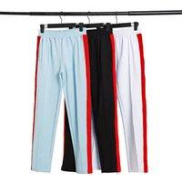 Erkek parça pantolon rahat tasarımcı yüksek kaliteli düz renk joggers pantolon gökkuşağı yan çizgileri pantolon pantolon elastik bel