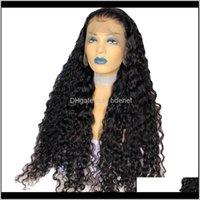 Perulu Kabarık Kıvırcık İpek Üst Tam Dantel Siyah Kadınlar Için Doğal Renk 180 Yoğunluk Derin Parça İnsan Saç Peruk Orta Oranı UDXZV Ji9T7
