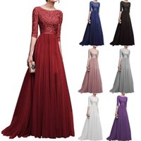 Women Formal Wedding Bridesmaid Long Dress Solid Half Sleeve Female Party Dress Ladies Elegant Maxi Lace vestidos 2019
