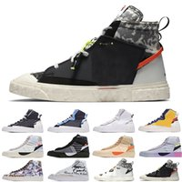 [Браслет + носки + оригинальная коробка] Sacai X Nike Blazer Mid Deconstructed Double Hook Catwalk Co-branded Trailblazer High-Top Casual Shoes Off White x Blazer Mid OW Sneakers