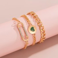 Charm Bracelets Punk Thick Layered Chain For Women Y2K Charms Heart Set 2021 Fashion Chunky Hand Chains Jewelry Trendy Gifts