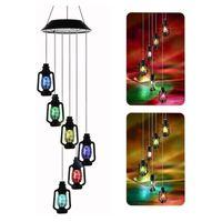 Lámparas solares Linternas de cambio de color Camillón Viento CHIME LED Luz Luz Portátil Al Outdoor para Patio Deck Yard Garden Home Deco