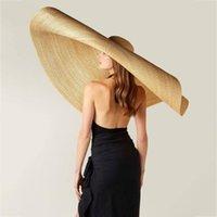 Luxury -Fashion Lady Straw Hat Women Summer Sun Visor Sunhat Floppy Bucket Cap Oversized Female Hat Straw Beach Anti -Uv Protecti