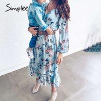 Simplee Women floral print dress Plus size high waist ruffeld dress Summer loose v neck puff sleeve chiffon holiday boho dress 200928