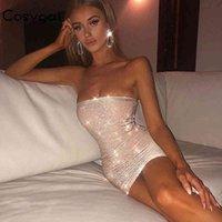 Cosygal 2019 Abiti sexy senza spalline riflettenti Sexy Delle Donne Night Night Party Club Abiti senza maniche Fashion BodyCon Mini Dress Vestidos