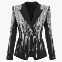 HIGH STREET est Fashion Designer Jacket Women's Double Breasted Luxurious Stunning Silver Metal Buttons Beaded Blazer 210929