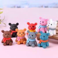 Mini Teddy Reçine Ayı Aksesuarları Bebek Evi Dekorasyon Minyatür Ayı Modeli Dollhouse Oyuncaklar Çocuklar Için Bebek Duş Parti Oyuncaklar Hediye