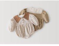 ZHBB INS Toddler Baby Girls Floral Rompers Jumpsuits Turn-down Autumn Organic Linen Cotton Newborn Bodysuits Onesies