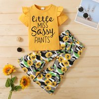 Summer Children Set Baby Girl Short Sleeve Letters Print T-shirt Tops+Sunflower Bell-bottomed Pants Trouser Outfits Clothing Sets