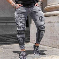 Männer Stretch Slim Hip Hop Mode Brief Gedruckt Grau Skinny Jeans Mann Kausal Jogging Denim Bleistift Hosen Streetwear