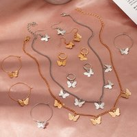 Earrings & Necklace 2021 Butterfly Pendant For Women Jewelry Simple Alloy Choker Fashion Clavicle Chain Boho Accessories Gift