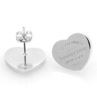 Vente en gros pour toujours Amour Design Femmes Stud Bijoux en acier inoxydable retour à Heart Charms Boucle d'oreille 10mm 14mm Argent Gold Rose