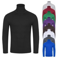 Men's T-Shirts Solid Color Elastic Slim High Collar Turtleneck Long Sleeve Colour Stretch Fit Bottoming Top Blouse