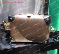 패션 디자이너 여성 Petite Malle Souple 토트 어깨 체인 가방 W 태그 45571 사각형 리벳 넓은 스트랩 CESOBODY 가방 실제 엠보싱 가죽 핸드백 메신저 지갑