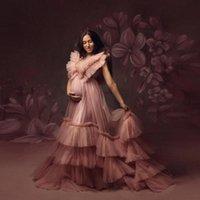 Elegante Blush Rosa Ruffles V-Neck Trovatta lunga per DONNA PREGANT DONNA BELLLE TILLE TILLE ABITO MATERNA DOCCIA Abiti da bambino