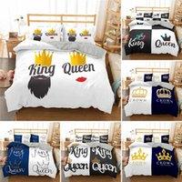 Conjuntos de ropa de cama Moda HD Digital Impresión King y reina Crown Duvet Funda de edredón + Funda de almohada Individual Doble cama Set 6 Estilo