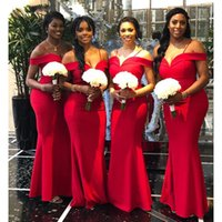 Elegant Off The Shoulder Bridesmaid Dresses Mermaid Red Satin South Africa Style Maid Of Honor Wedding Guest Gown Custom Made
