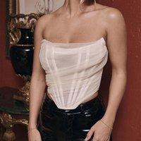 Bahar ve Yaz Kadın Moda Fishbone Mesh Korse Yelek Kısa Tops Trend Tüm Maç Tankları Camis