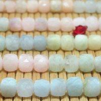 Natural morganite cubo sfaccettato perline allentati all'ingrosso gemme semi preziosa pietra braccialetto collana gioielli fai da te making design h1015