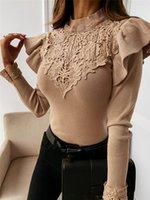 Imbute primavera otoño camisas sexy elegantes mujeres manga larga soplo de encaje floral patchwork blusas Outwear ruffles turtleneck camisa mujeres