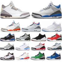 3 3 S Erkek Basketbol Ayakkabı Knicks Siyah Çimento NRG UNC Mavi Pe Mocha Lazer Turuncu Parçası Marka Moda Eğitmenler Luxurys Tasarımcı Sneakers