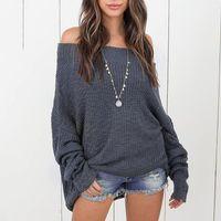 Women's Sweaters ALLNeon Off Should Slash Neck Batwing Sleeve Women Loose Knitting Pullover Plus Size Autumn Winter Female