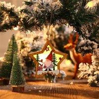 لوازم الحزب غابة عيد كبار السن خشبي مضيئة قلادة شجرة Xmax الحلي جولة خمس نجوم النجوم المعلقات DHF8276
