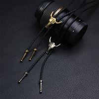 MANWT Moda Bolo Tie para unisex Bola Ajustable Cuero Bull Head Cráneo Cuerda Corbata Joyería Cuero Cuero Suéter Collares 962 Q2