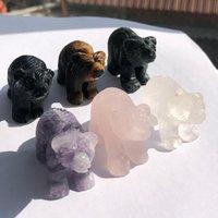 Objetos decorativos figuras 49mm natural urso de cristal puro mão esculpida animais ornamentos branco rosa quartzo vários quartos de pedra mista decora