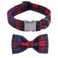 Patas de estilo único Cuello de Navidad para perros de Navidad Tela de algodón de tela escocesa roja y verde Plaid Collar de perro y arco X0703