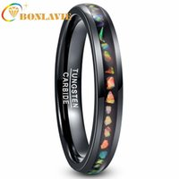 Wedding Rings Tungsten Carbide Ring Crushed Fire Opal Men Women Black Dome Comfortable Fit Steel Quality