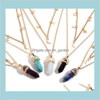 6 Color Moda Natural Stone Hexagon Collar Doble Cadena Star Moon Tassel Necklacecs Mujeres Fine Jewlery CTV10 Collares KQIOU