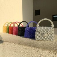 Style Beaded Purses And Handbags Small Square Cute Woven Bags Handmade Acrylic Mini Lipstick Hanbags Satchel Handbag Cross Body