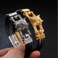 ترتيب مختلط للرجال الفولاذ المقاوم للصدأ أساور سلسلة الهيب هوب الجينى الجلود والمجوهرات فاسق المجوهرات خمر سوار الذئب الأسد المجوهرات KL4903