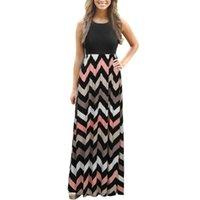 1pc Sleeveless Colorful Womens Striped Long Boho Dress Lady Beach Summer Sundrss Maxi Women's 2021 #10 Casual Dresses