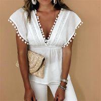 Women's T-Shirt Fashion Women Summer Loose Casual Ladies Sleeveless White T Shirts Tops Lace 2021 Tassel Deep Neck V-neck
