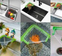 Küchenküche Hängende Net Rack Filter Reste Wasche Dreieckablauf mit 50 Einwegbeutel Haken Schienen 1444 V2