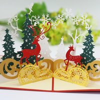 Greeting Cards Christmas Card Forest Deer 3D Three-dimensional Hollow Paper Carvings Postcards S1