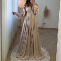 Muslimische Abendkleider für Frauen Party Champagne Langarm Dubai Abendhemd A-Line Chiffon Vestidos de Fiesta