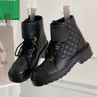 Yeni Moda Klasikleri Siyah Tıknaz Platform Çizmeler Dantel-up Shoessquare Combat Boot Zincirler Toka Düşük Topuk Martin Patik Ayak Bileği Lüks Tasarımcılar Markalar Ayakkabı
