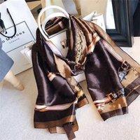 Designer lenço de moda feminina a marca de seda decorativa impressa luminosa cachecóis180 * 90 cm
