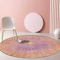 Carpets Fresh Colorful Light Gold Carpet For Living Room Bedroom Short Crystal Velvet Hanging Chair Table Round Non-slip Floor Mat Rug