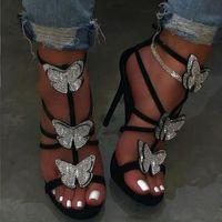 Dress Shoes Elegant Hollow Roman Sandals Women Fashion Rhinestone Bow High Heel Sexy Heels Ladies Wedding VT1093